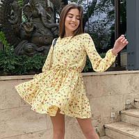 Красивое женское короткое платье в цветочек