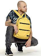 Модный мужской желтый рюкзак городской, повседневный, для ноутбука 15,6 из матовой экокожи