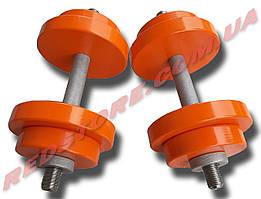 Гантели наборные 2 по 18 кг металлические с полимерным покрытием (общий вес 36 кг) разборные
