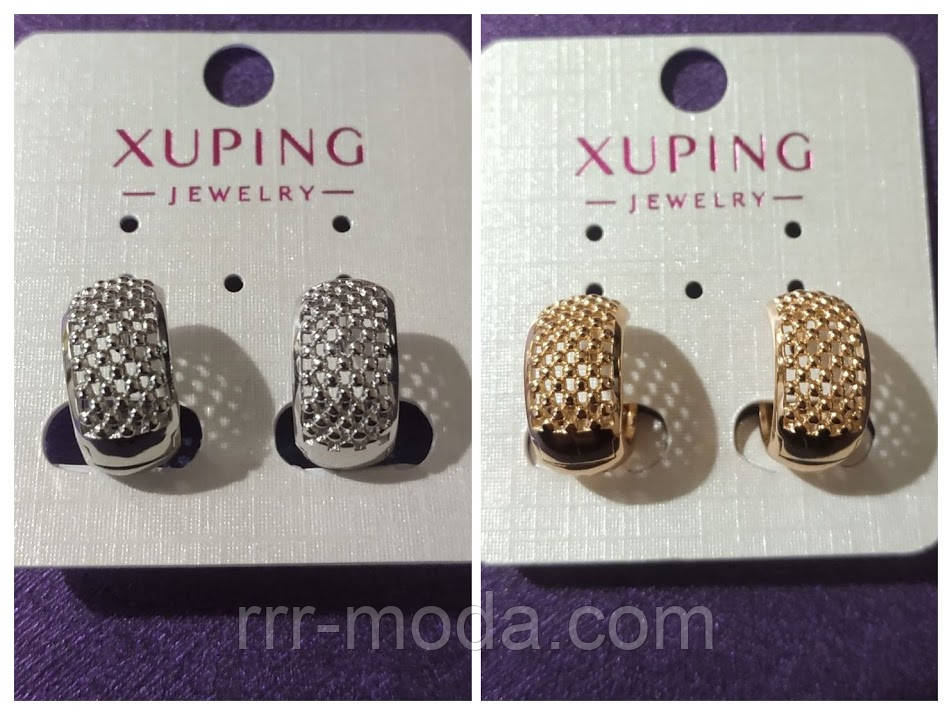 Позолоченные украшения - Xuping. Золотые серьги оптом. 11