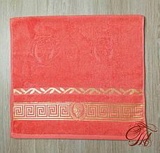 """Рушник махровий для обличчя та рук Parisa Home """"Греція"""" (яскраво-рожеве) 50х100см."""