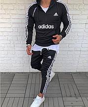 Мужской Спортивный Костюм в стиле Adidas Черный с полосками adidas Black