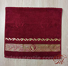 """Рушник махровий для обличчя та рук Parisa Home """"Греція"""" (бордо) 50х100см."""