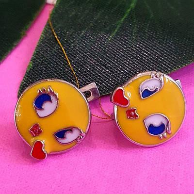 Срібні дитячі сережки з емаллю Смайл - Сережки для дівчинки Смайлики срібло