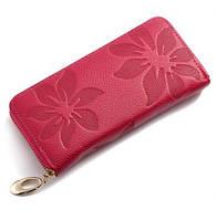 Женский кошелек кожа цветы малиновый
