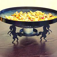 Подставка на стол с подогревом для сковороды из диска бороны