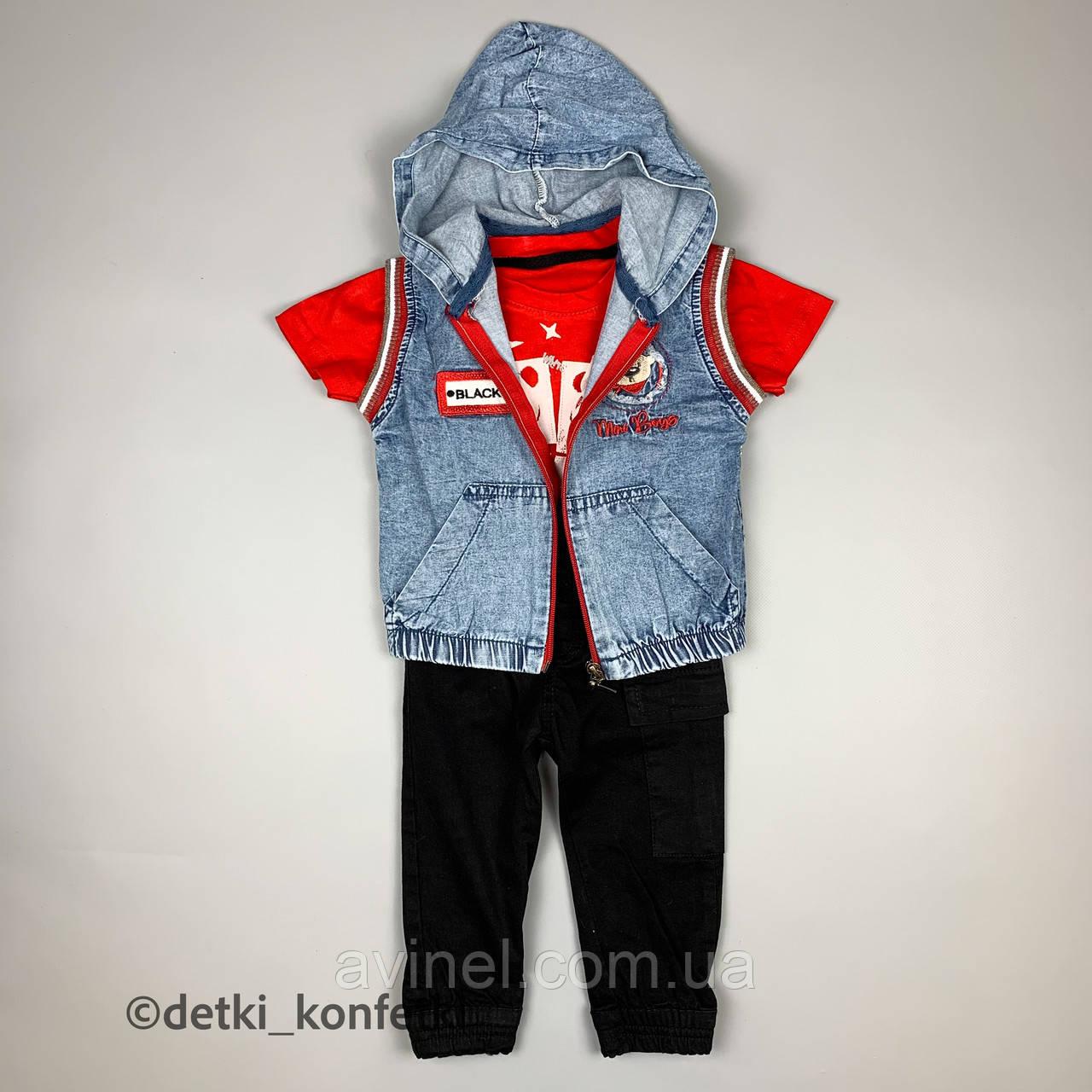 Комплект футболка, штаны, подтяжки, жилет красный concept Турция 86 (р)