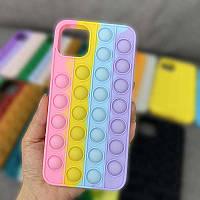 Разноцветный чехол Антистресс вечная пупырка чехол на Apple iPhone 11 Pop IT ХИТ ГОДА