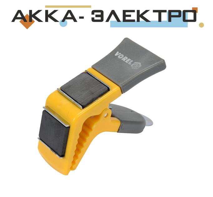 Держатель для кисти магнитный 90 мм пластиковая ручка пружинный зажим Vorel 09590