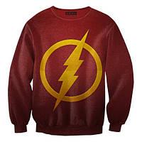 "Свитшот с рисунком 3D ""Флэш, логотип на красном (The Flash)"""