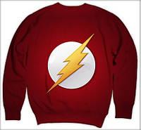 "Свитшот с рисунком 3D ""Флэш, логотип на белом min (The Flash)"""
