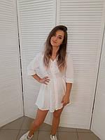 Красивое модное летнее белое платье-рубашка