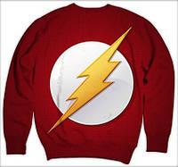"""Свитшот с рисунком 3D """"Флэш, логотип на белом max (The Flash)"""""""
