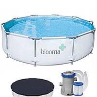 Каркасный бассейн с фильтром-насосом и тентом Blooma 305 х 76 см