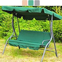 Садовая качеля трехместная Avko Relax с козырьком для сада, дачи садовые качели Зеленый