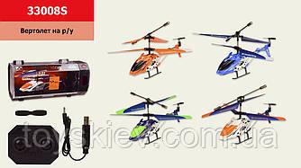 Вертолет аккум р у 33008S (24шт 4)  4 цвета-микс в ящике, гироскоп, в в пластик.боксе 28*10*14см