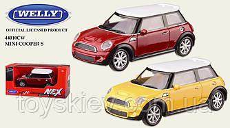 """Машина метал 44010CW (72шт 3) """"WELLY""""1:43 MINI COOPER S,2 цвета,в кор.13*6*5,5см, р-р игрушки – 8.5*"""