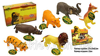 Животные резиновые-тянучки 7215 (36уп по 12шт |2) Дикие,6 видов, по 12шт в боксе 27*15*8,5см|цена за