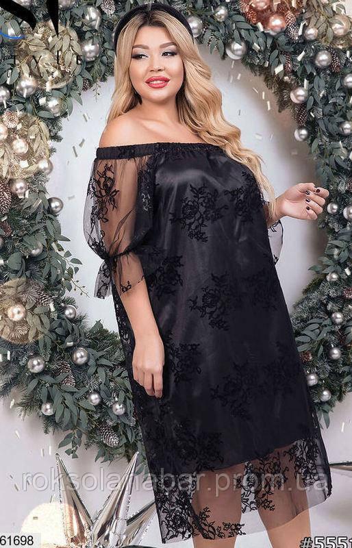 Женское черное атласное платье XL с флоковым рисунком