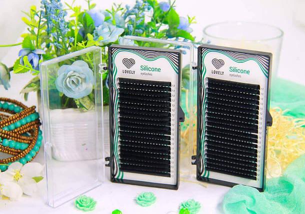 Ресницы черные Lovely серия Silicone Eyelashes - 20 линий 0.07 С и Д  8 мм, фото 2