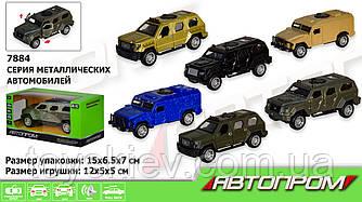 """Машина метал 7884 (216шт 2) """"АВТОПРОМ"""",1:32-36,3 види по 2 кольори,світло,звук,в коробці 15*7*6,7 см"""
