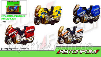 """Мотоцикл металл 7829 (96шт 2) """"АВТОПРОМ"""",1:50,4 цвета, в коробке 12*7*6см"""
