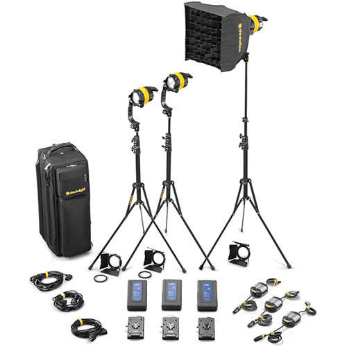 Dedolight DLED4.1-D Daylight LED 3-Light Battery Kit (Battery Operation) (SLED3-D-BAT)