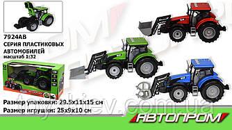 "Трактор инерц. 7924AB (36шт|2) ""АВТОПРОМ"",1:32, 2 вида по 3 цвета,батар.,свет,звук в коробке 29,5*11"