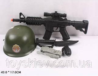 Військовий набір 6313D-1 (72шт|2) каска, автомат, в сітці 43*17см