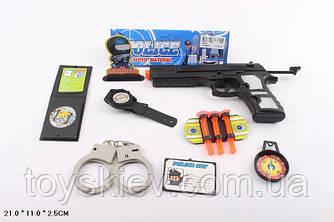 Поліцейський набір 189-02 (192шт|2) пістолет, наручники, годинник, компас, у пакеті 21*11*2,5 см