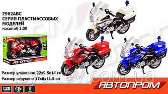 """Мотоцикл батар 7962ABC (48шт 2) """"АВТОПРОМ"""" свет,звук,3 цвета,в кор. 22*14*9,5см"""