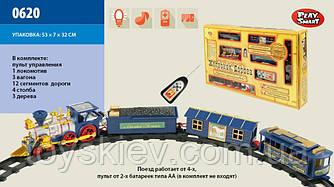 Железная дорога 0620 (24шт) батар.р|у, муз., свет.эффекты, поезд, 3 вагона, в кор. 53*31*7см