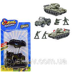 Військовий набір инерц. TH-P061|6(144шт|2)2танка, військов. машина, солдатики в наборі, на планш. 25*14см