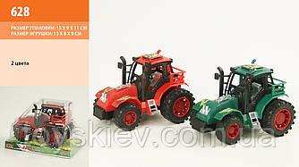 Трактор инерц 628 (216шт|2) 2 цвета, под слюдой 13*8см