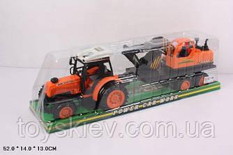 Трактор инерц 666-9C (24шт|2)  с прицепом, под слюдой 52*14*13см