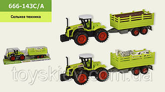 Трактор инерц. 666-143C|A (60шт|2) 2 вида, р-р игрушки – 36.5*9.5*9.5 см, под слюдой 40*10,5*12 см