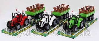 Трактор инерц. FB17-2 (72шт|2) с прицепом,3 цвета, под слюдой 37*10*11,5см