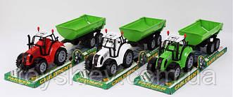 Трактор инерц. FB17-9 (72шт|2) с прицепом,3 цвета, под слюдой 37*10*11,5см