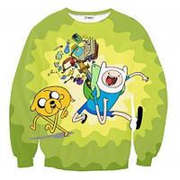"""Свитшот с рисунком 3D """"Фин и Джейк, Время приключений (Adventure Time)"""""""