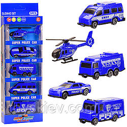 Набір транспорту 7199A(168шт|2)Поліція, 5видов в наборі, в кор. 28*10,5*4см