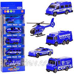 Набор транспорта 7199A(168шт 2)Полиция, 5видов в наборе, в кор. 28*10,5*4см