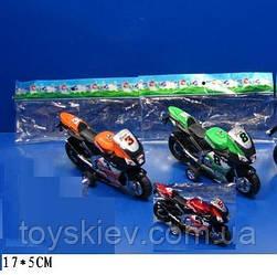 Мотоцикл инерц 607 (360шт 2) 3 цвета, в пакете 17*5см