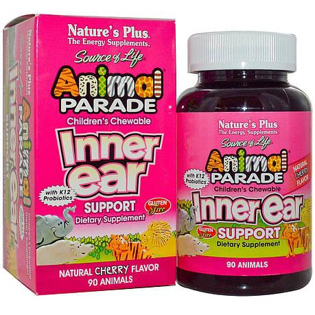 Комплекс для Поддержки Внутреннего Уха для Детей, Вкус Вишни, Animal Parade, Natures Plus, 90 жевательных, фото 2