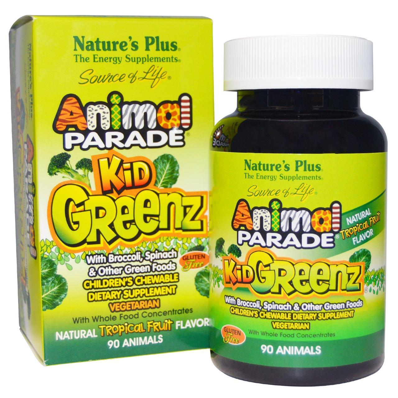 Витаминный Комплекс из Зеленых Суперфудов для Детей, Вкус Тропических фруктов, Kid Greenz, Animal Parade,