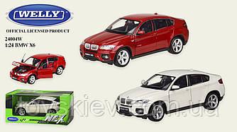 """Машина метал 24004W (24шт 4) """"WELLY""""1:24 BMW X6,откр.двери,капот,2 цвета,в кор.23*11*10 см, р-р игру"""