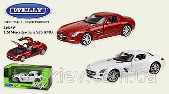 """Машина метал 24025W (24шт 4) """"WELLY""""1:24 MERCEDES-BENZ SLS AMG,откр.двери,капот,2 цвета,в кор.23*11*"""