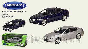 """Машина метал 24026W (24шт 4) """"WELLY""""1:24 BMW 535I,откр.двери,капот,2 цвета,в кор.23*11*10см, р-р игр"""