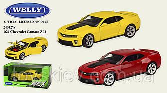"Машина метал 24042W (24шт|4) ""WELLY""1:24 CHEVROLET CAMARO ZL1,об.двері,капот,2 кольори,в кор.23*11*1"