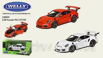 "Машина метал 24080W (24шт|4) ""WELLY""1:24 PORSCHE 911 GT3 RS,об.двері,капот,2 кольори,в кор.23*11*10"