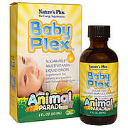 Жидкие Мультивитамины для Младенцев, Апельсин, Baby Plex, Animal Parade, Natures Plus, 60мл